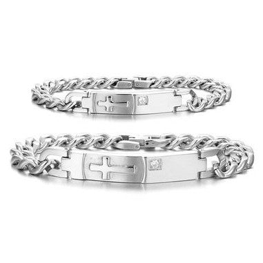 Personalized Embossed Christian Cross Couple Bracelets