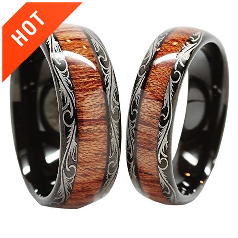 Tungsten Carbide Wedding Band Wood Inlay Couple Rings
