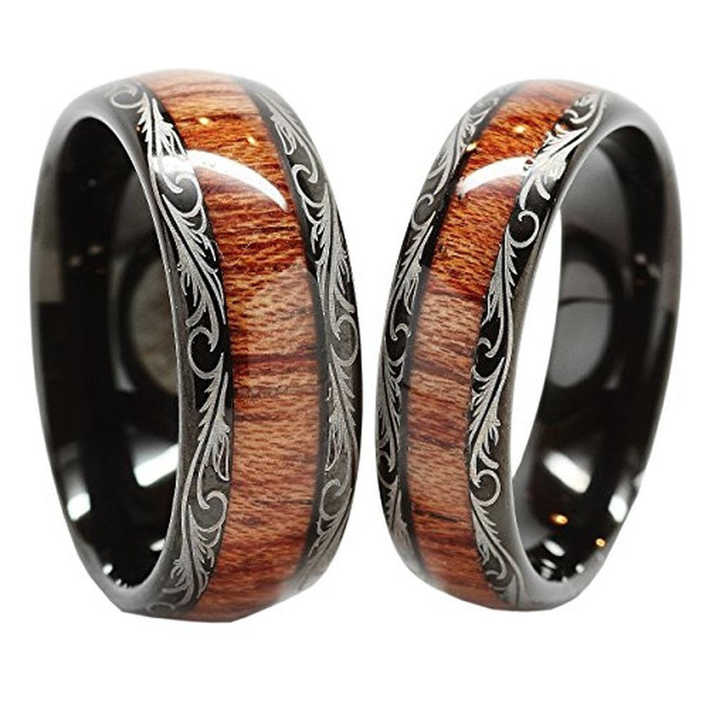 Personalized Tungsten Carbide Wedding Band Wood Inlay Couple Rings  Personalized Tungsten Carbide Wedding Band Wood Inlay Couple Rings  . Inlay Wedding Bands. Home Design Ideas