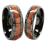 Men & Women's Tungsten Carbide Wedding Band Wood Inlay Couple Rings