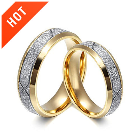 Couple's Stainless Steel Engagement Rings Wedding Rings Set