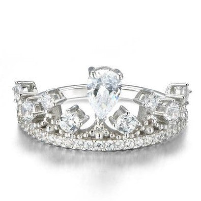 Crown Decoration 925 Sterling Silver Silver Wedding Rings