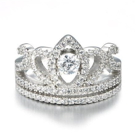 Personalized Crown Decoration 925 Sterling Silver Silver Wedding Rings