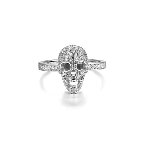 Evil Skull Design 925 Sterling Silver Silver Statement Ring