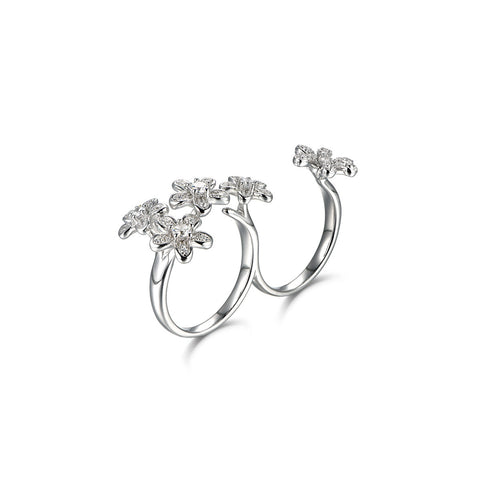 Beautiful Flowering Shrubs 925 Sterling Silver Silver Statement Ring