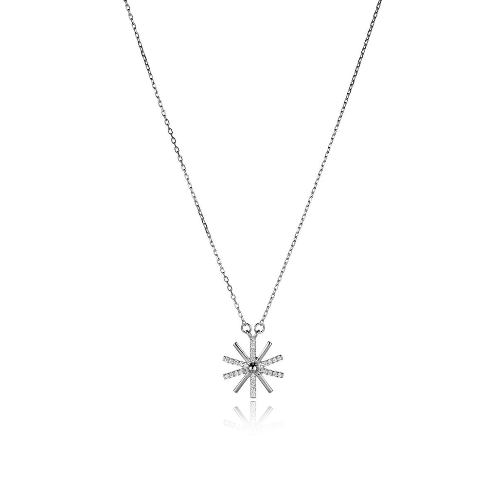 Romantic Flying Dandelion 925 Sterling Silver Pendant Necklace