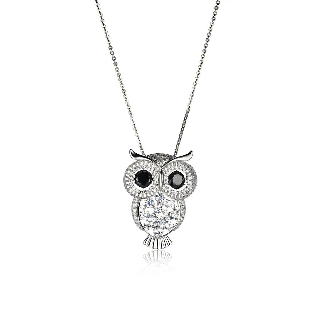 Pompous Diamond Decorated Owl Pattern Pendant Necklace