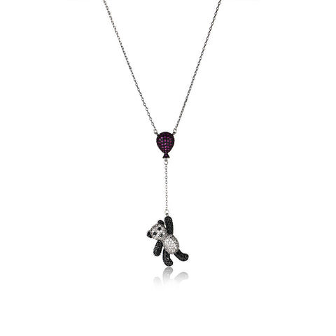 Unique Panda with Balloon Pattern Pendant Necklace