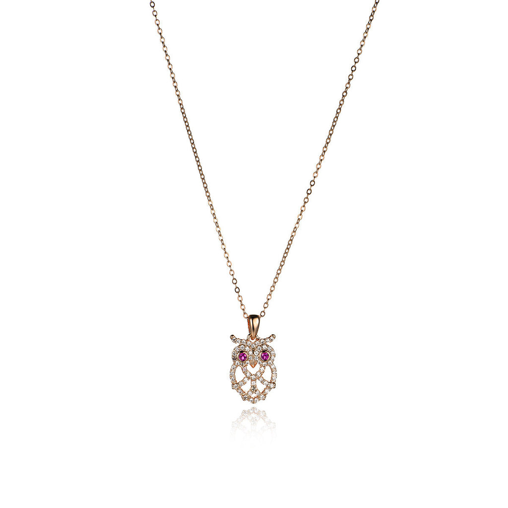 Delicate Hollow Owl Pattern   Pendant Necklace