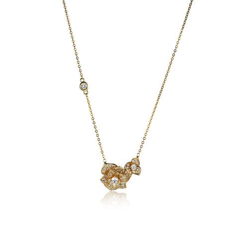 Elegant Double Layer Flower Pattern Pendant Necklace