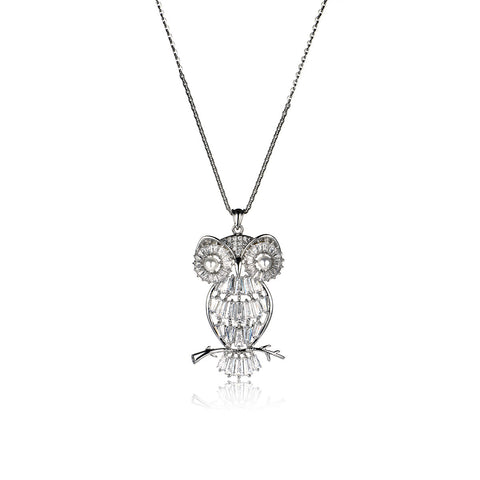 Gorgeous Owl Pattern Pendant Necklace with Crystals