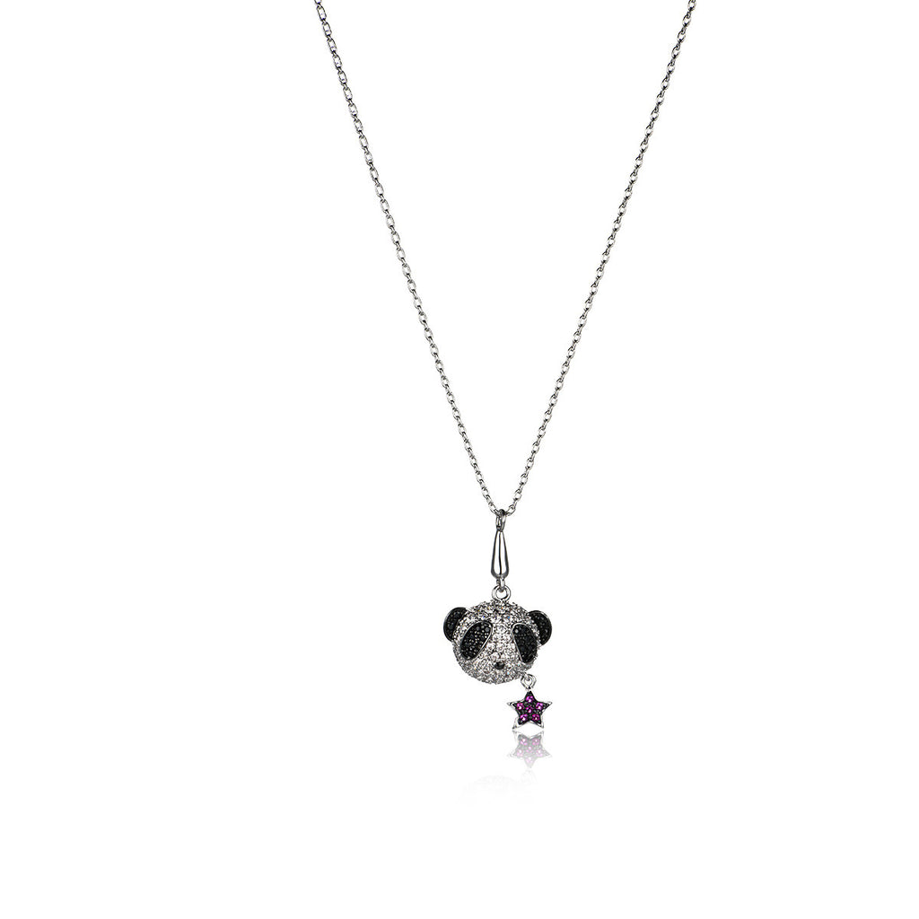 Fashion Panda and Star Pattern Pendant Necklace
