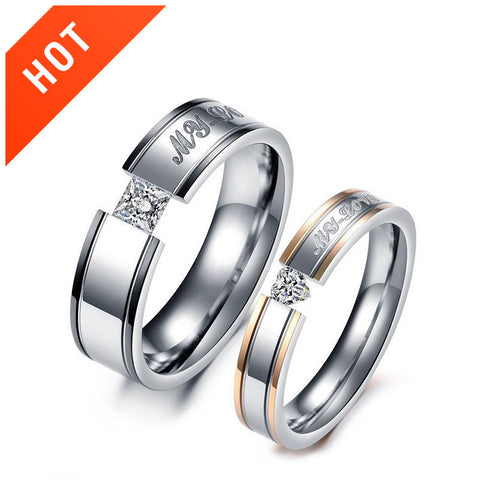 Heart-Shaped Diamond Imitation Couple Rings