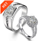Romantic Beautiful Inlaid CZ Couple Rings