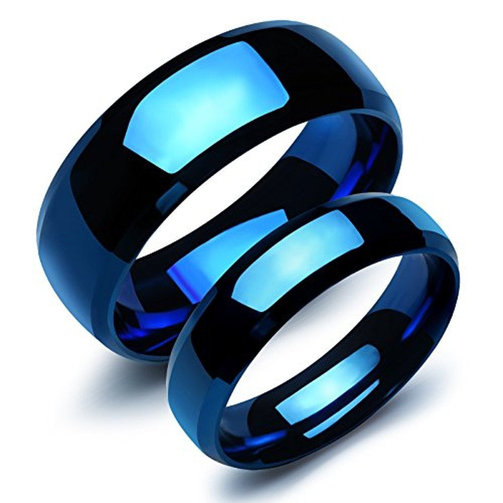 Personalized |Our Love Pure As the Sea| Noble Ocean Blue Couple Rings