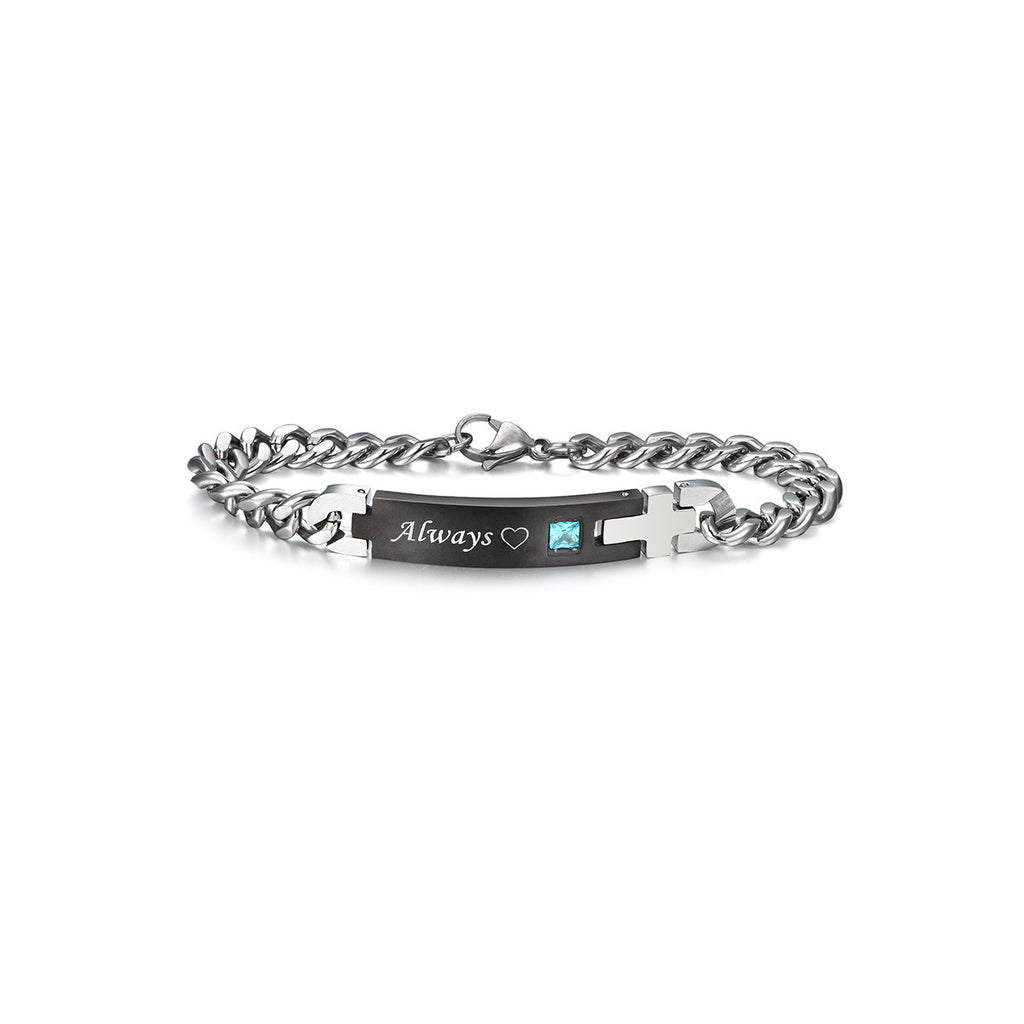 Personalized |His Only|&| Her One| Titanium Matching Bracelets for ...