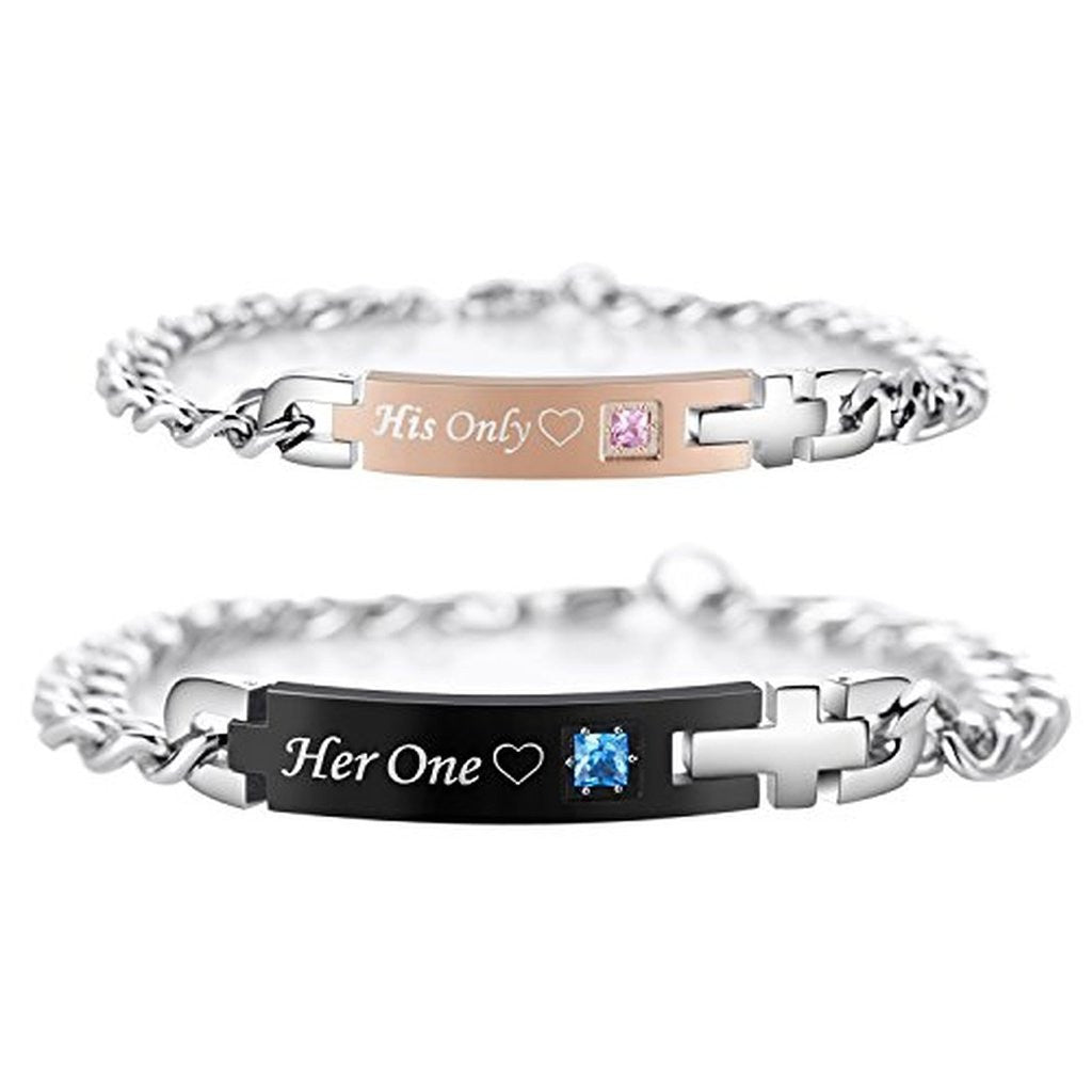 Personalized His Only Her One Titanium Matching Bracelets For