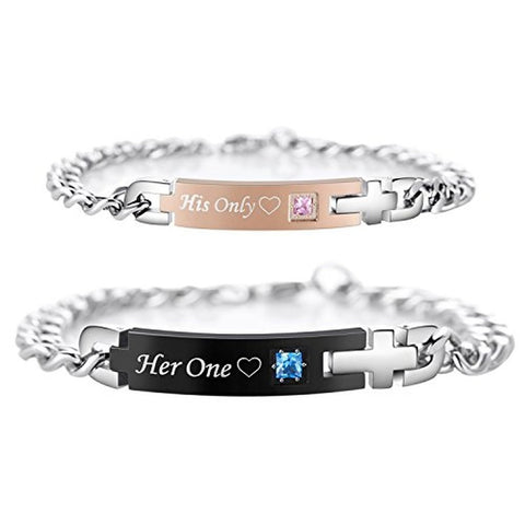 Personalized |His Only|&| Her One| Titanium Matching Bracelets for Couple