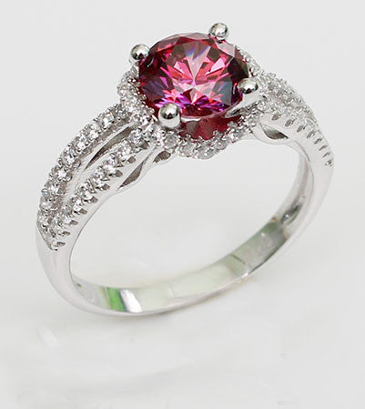 Excellent Cut Round Ruby Diamond Engagement Ring