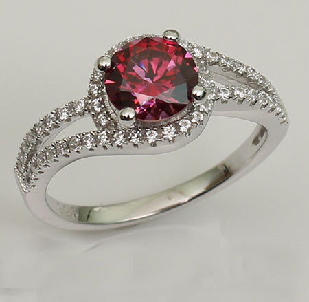 Double Embrace Classic Round Cut Purplish Ruby Engagement Ring