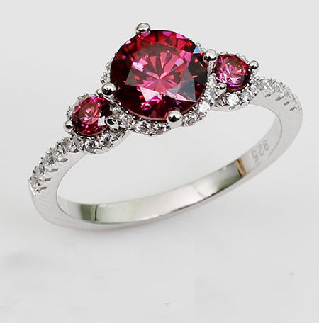 Gorgeous Round Cut Classic Purplish Ruby 925 Sterling Silver Engagement Ring
