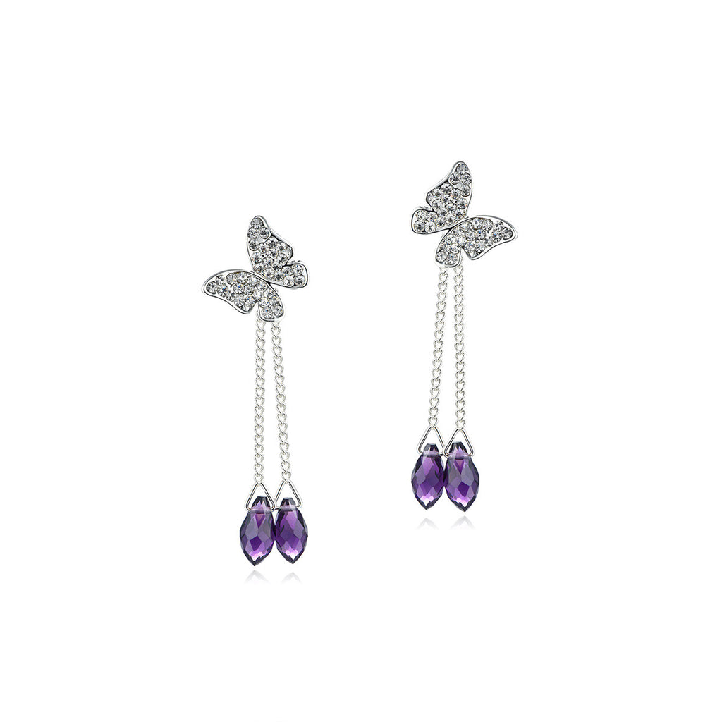 Women's Purple Rhinestone Butterfly Drop Earrings