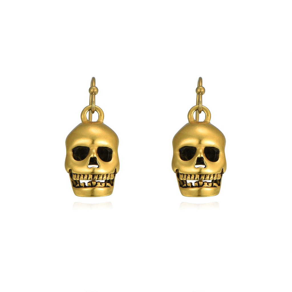 Skullies Forever Sterling Silver 14K Gold Drop Earrings