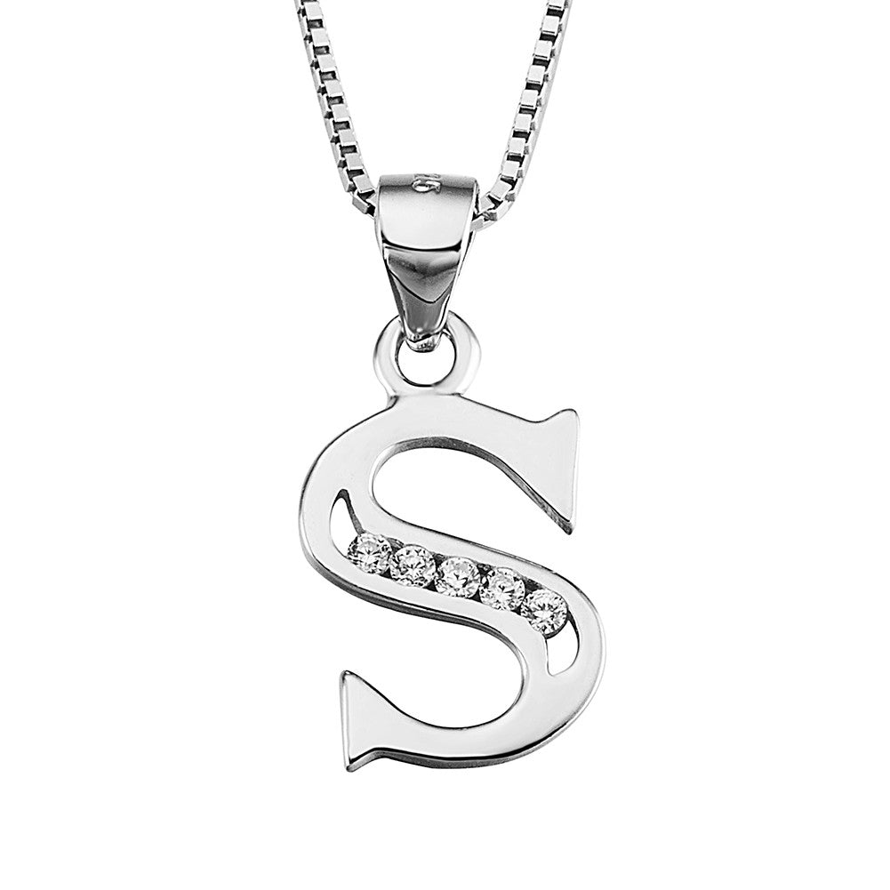 Silver Tone Initial Letter Pendant