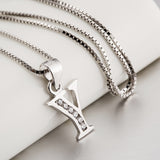Sterling Silver Letter Y Initial Pendant Necklace