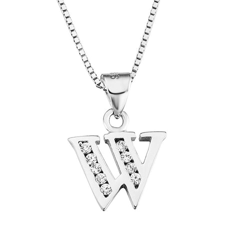 Sterling Silver CZ Initial Letter W Pendant Necklace