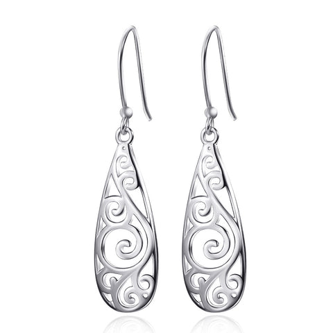 Vintage Pear-shaped Floral Drop Earrings in Sterling Silver