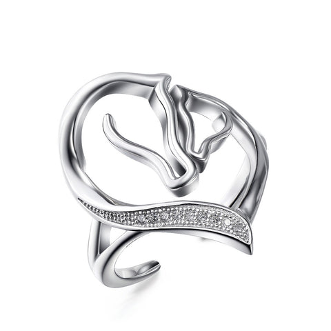Horse Love Cocktail Ring in Sterling Silver