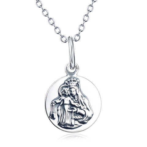 Christian Mary Silver Pendant Necklace