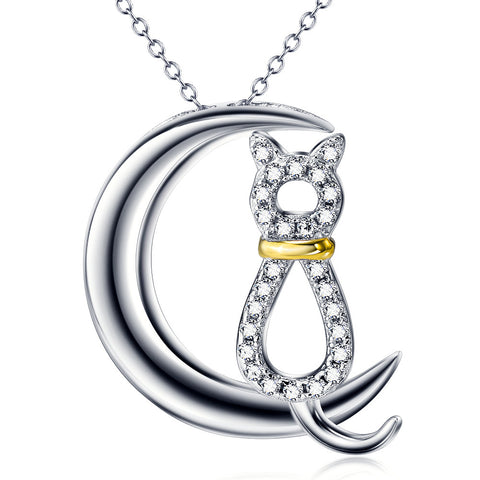 Moon Cat Necklace in Sterling Silver