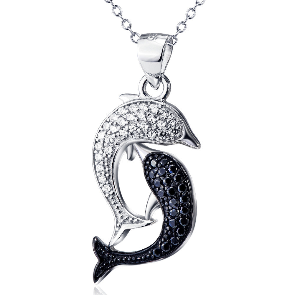 gold white diamond carrera black y pendant dolphin necklace pearl ball and
