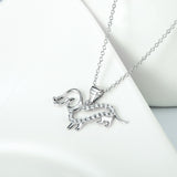 Fetching Pet Dog Pendant Necklace