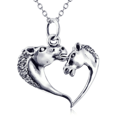 Horse and Love Heart Silver pendant Necklace