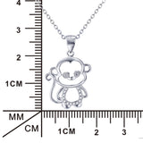 Sterling Silver Little Monkey Pendant Necklace