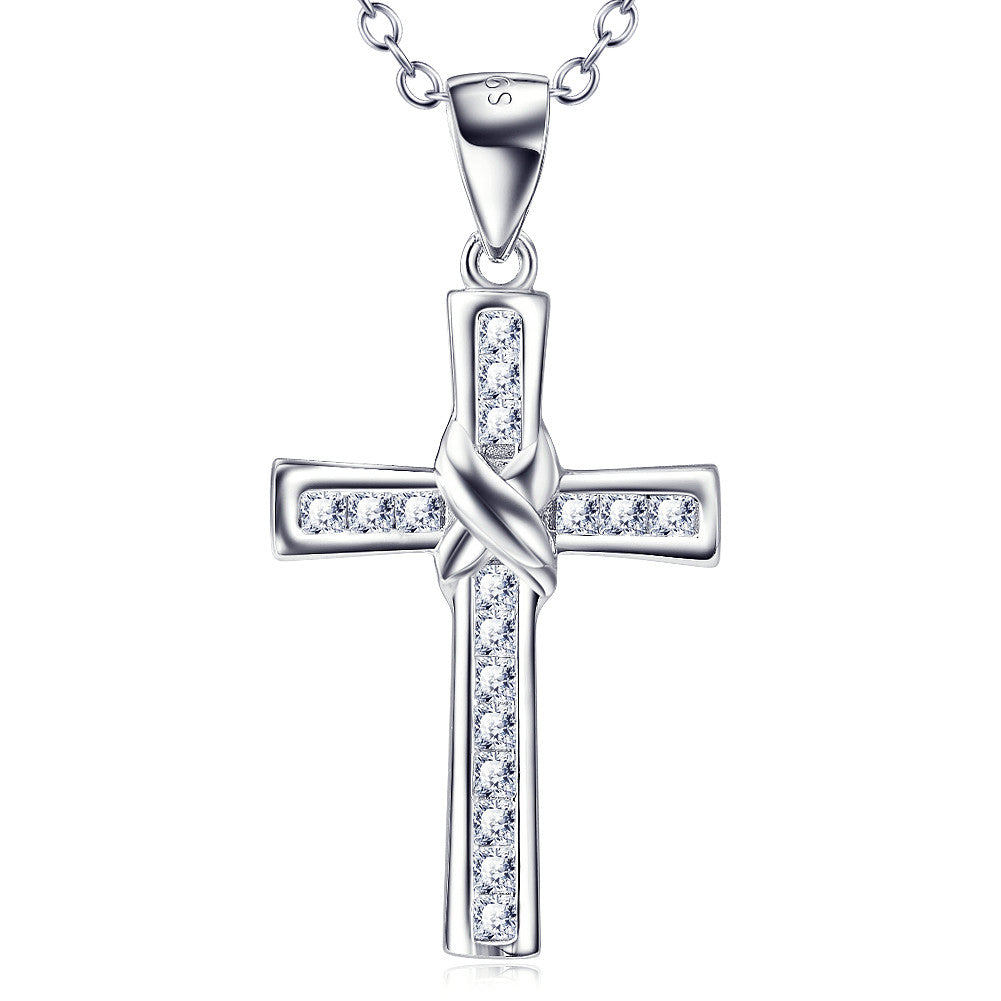 Christian Cross Pendant Necklace in Sterling Silver