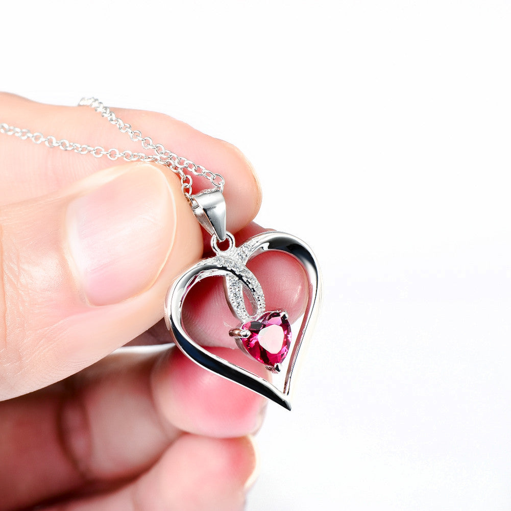 is s image necklace pendant chain loading swarovski italian elements heart ruby itm red