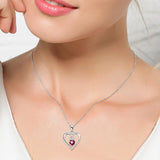 Sterling Silver Red Heart Pendant Necklace