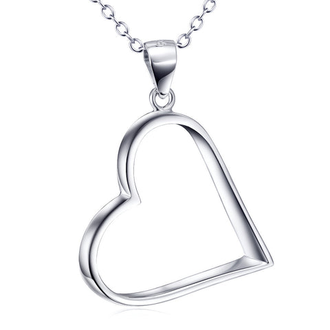 Empty Heart Silver Pendant Necklace