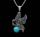 Vintage Turquoise Hollow Out Butterfly Pendant Necklace Sets
