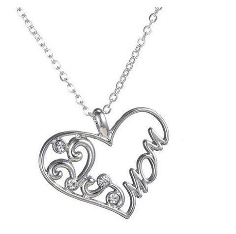 Love Heart Mom Heart Shaped Pendant Necklaces