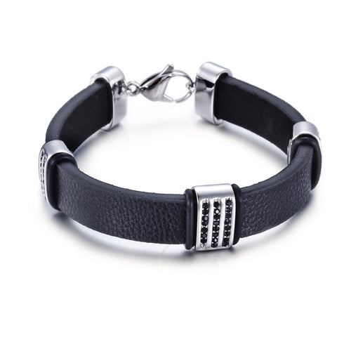 Simple Leather Bell Pattern with Triple Silver buckle Titanium Men's Bracelet