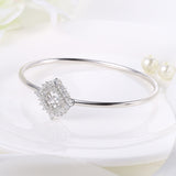 Sterling Silver Double Layer Rhombus Diamond Inlaid Round Dancing Diamond Bangle