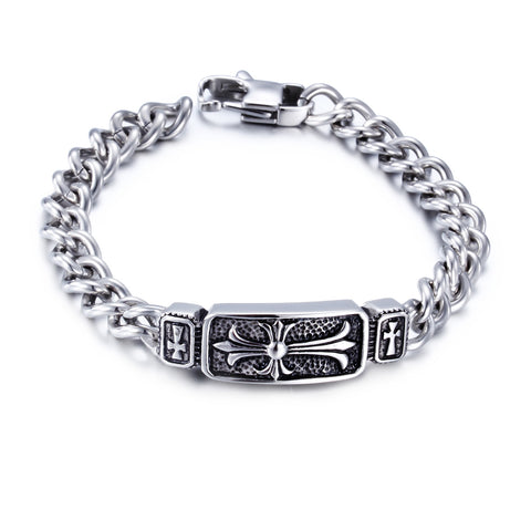 Cruciate Flower and Hook-ups Pattern Titanium Steel Men's Bracelet