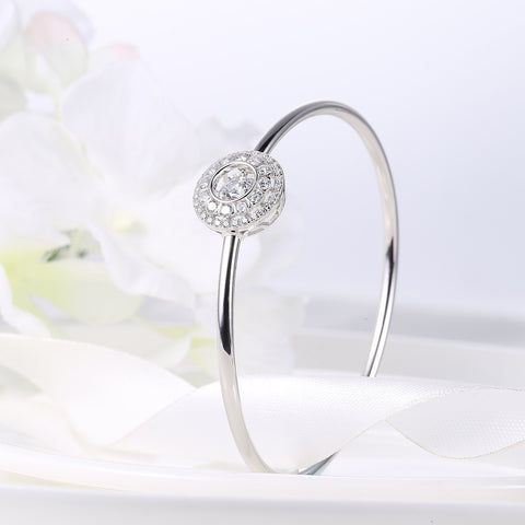 Sterling Silver Double Layer Diamond Inlaid Round Dancing Diamond Bangle