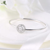 Sterling Silver Double Layer Wheel Diamond Inlaid Round Dancing Diamond Bangle