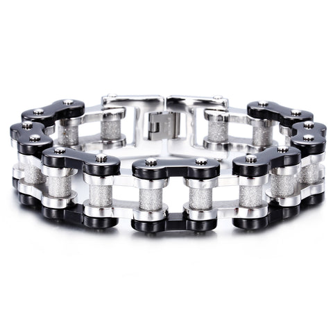 Characteristic Silver and Black Drive-chain Pattern Men's Bracelet